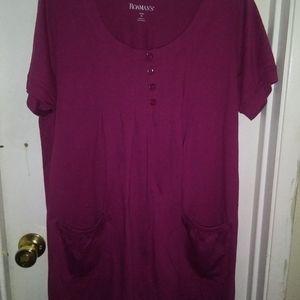 Roamans sz M simplistic purple shirt dress new